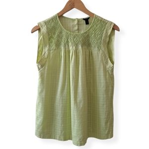J.Crew Sleeveless Embroidered Top Size 4 Green